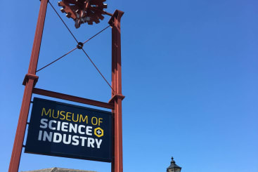 The sign to the museum of science and industry