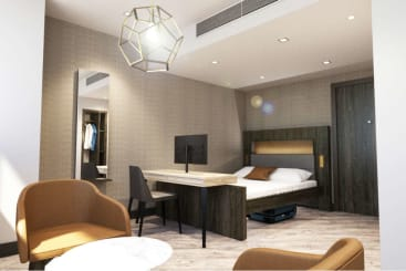 A Neo suite at Roomzzz Manchester Corn Exchange