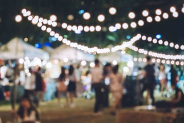 Fairy lights at night at a music festival
