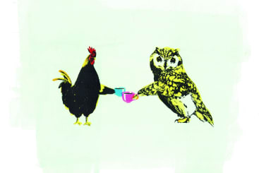 Katie Edwards - Chicken and owl screenprint