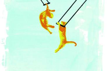 Katie Edwards - Swinging cats screenprint