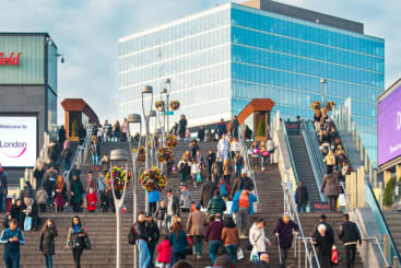 The steps leading up to Westfield Stratford shopping centre