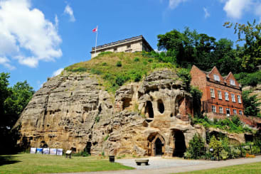 Nottingham castle and the entrance to the caves