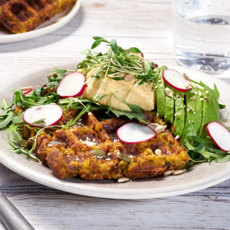 Falafel Waffles with Avocado Salad & Hummus
