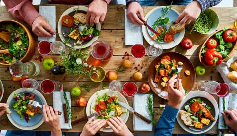 Family dining together through National Vegetarian Week
