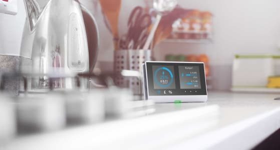Smart meter on the kitchen side