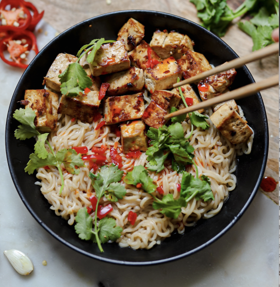 10-Minute Ginger Tofu and Noodles