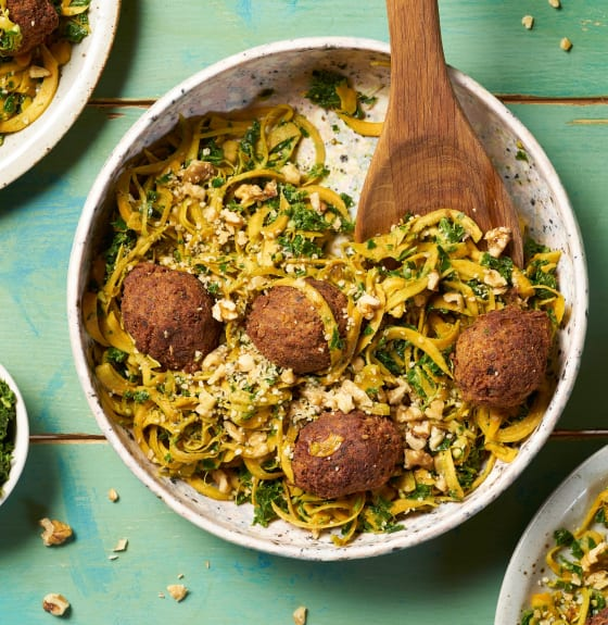 Vegan Falafel & Sweet Potato Noodle Salad With Kale Pesto