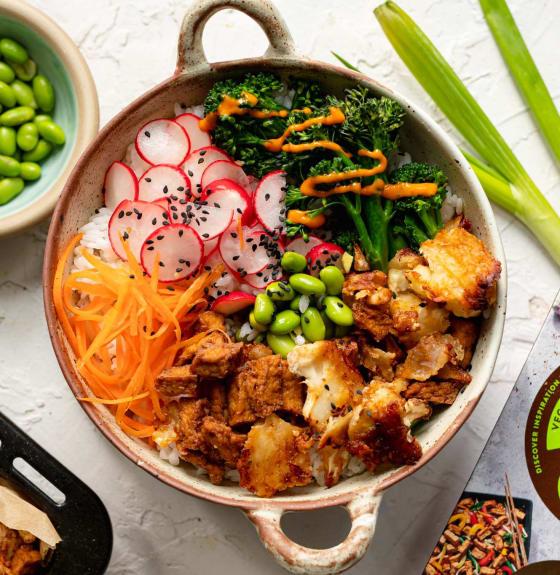 Cauliflower and Teriyaki Tofu Donburi