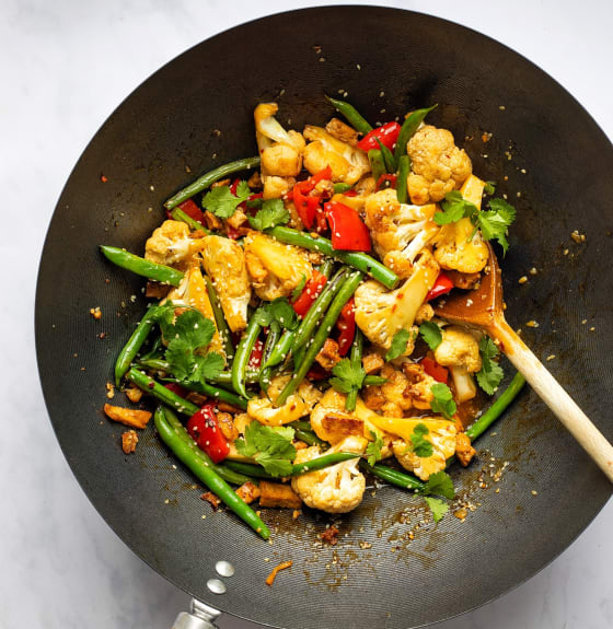Marinated Tofu Pieces and Cauliflower Stir Fry