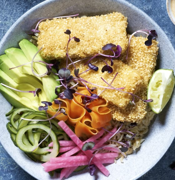 VEGAN SESAME CRUSTED GINGER TOFU