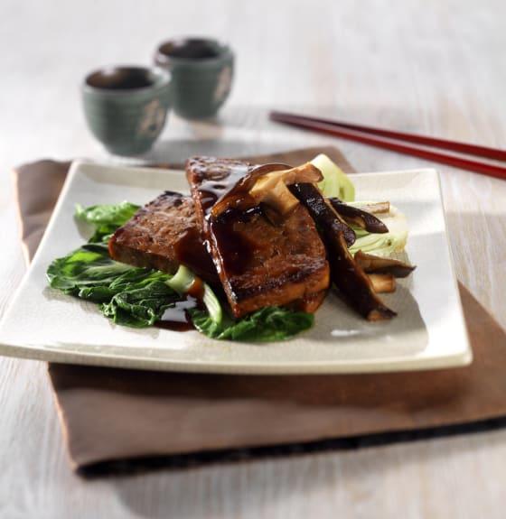 Roasted Teryaki Tofu Steaks with Glazed Pak Choi