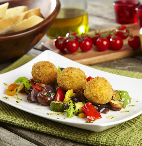 Sicilian Arancini with Roasted Mediterranean Vegetables