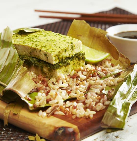 Tofu in banana leaf