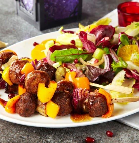 Falafel kebabs with orange & beetroot salad