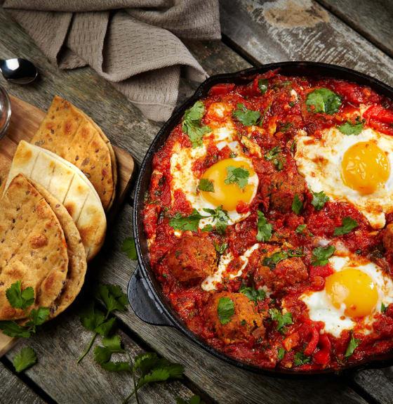 Shakshuka Breakfast with Falafels