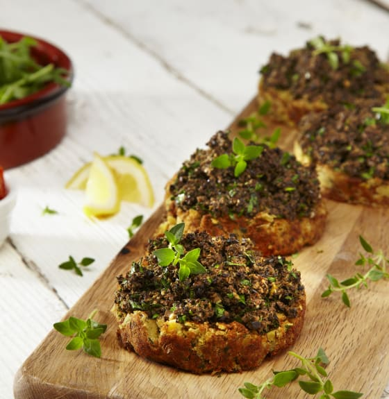 Falafel Rounds with Olive Tapenade