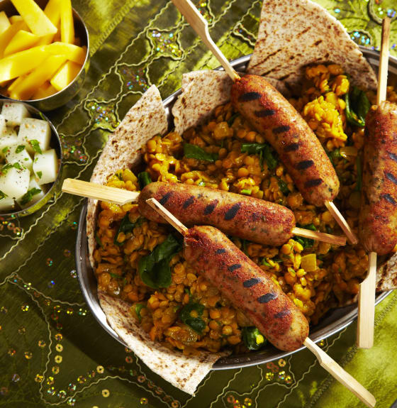 Indian Spiced Sausage with Lentil Dhal & Kashmir Potato Salad