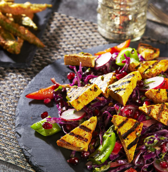 Tandoori Tofu with Okra Fries & Delhi Slaw