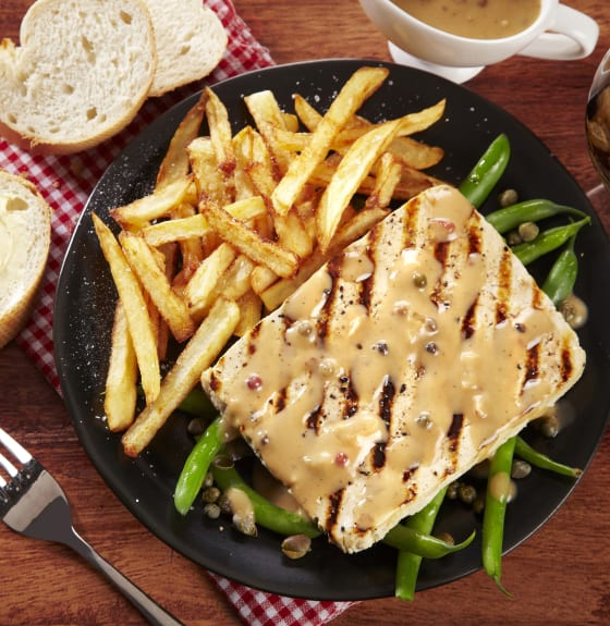 Tofu Minute Steak with Peppercorn Sauce & Pommes Frites