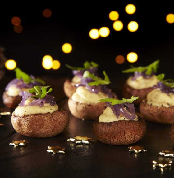 Tofu & Parsnip Mushroom Cups with Caramelised Onion