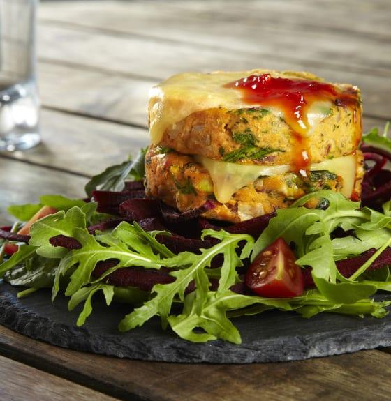 Vegan Burger Stack with Chilli Jam