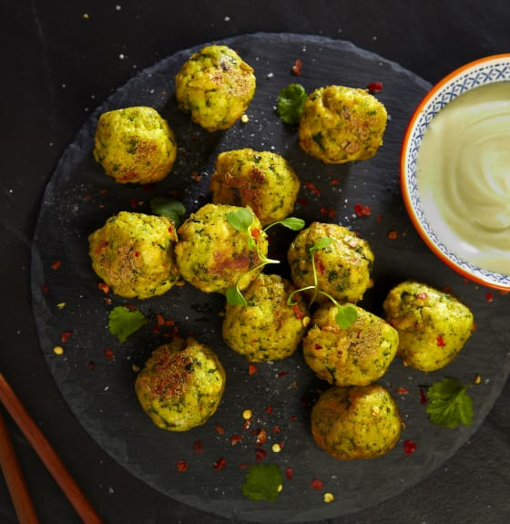 Ginger, Chilli & Coriander Tofu Balls with Wasabi Mayonnaise