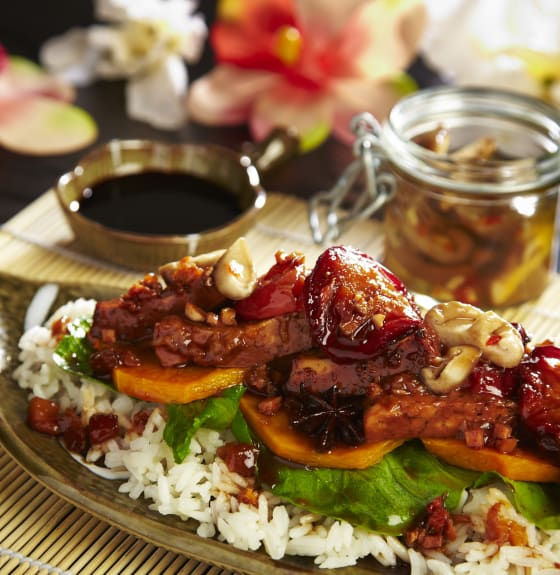 Spiced Plum Tofu with Pickled Shiitake Mushrooms, Wilted Asian Greens, Kabocha Squash & Steamed Rice