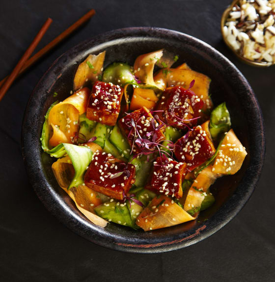 Char Siu Glazed Tofu with Pickled Vegetables & Steamed Rice