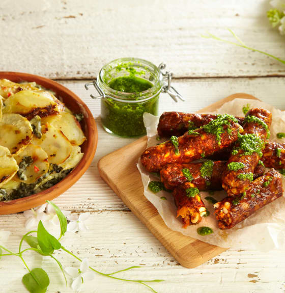 Vegan Wholefood Sausages with Celeriac Gratin