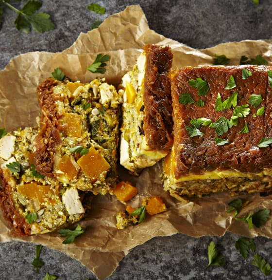 Tofu, Squash & Spring Greens Loaf with Roasted Carrot Chutney