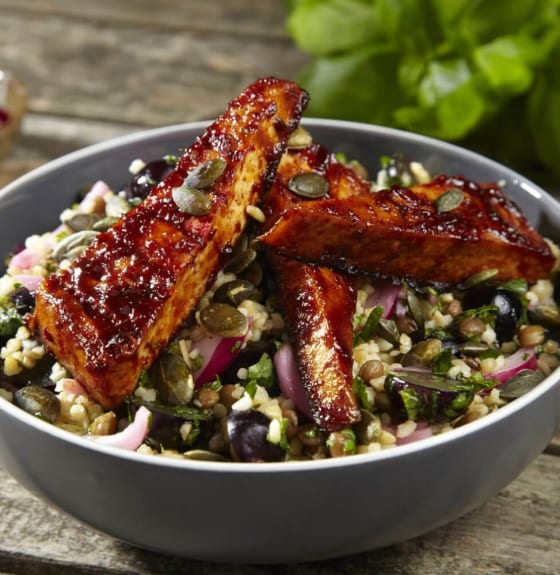Lentil & Bulgur Wheat Tabbouleh with Gochujang Spiced Tofu