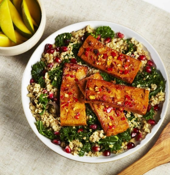Kale and Ancient Grains Salad with Citrus Marinated Tofu