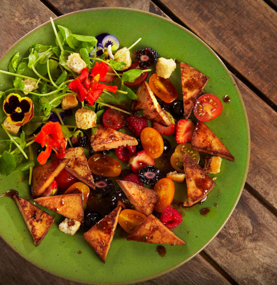 Sweet Ginger Tofu Summer Berry Salad