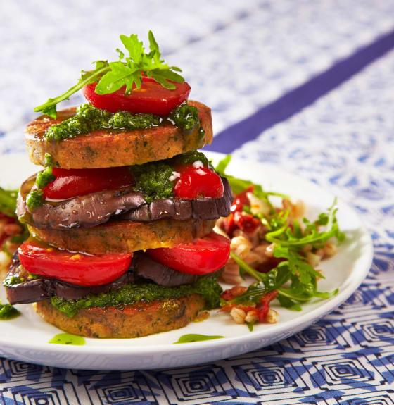 Farro Salad with Falafel Burger, Smoked Tomatoes & Chimichurri
