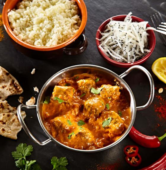 Vegan Makhani with Indian Bites and Mooli Slaw