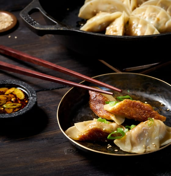 Pan-fried Tofu Pot Stickers with Tamari Dipping Sauce