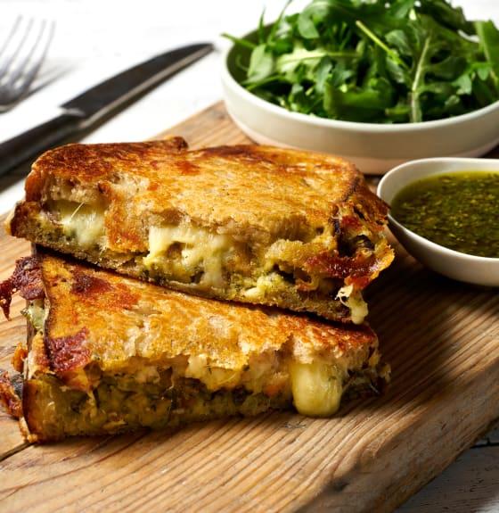 Falafel, Cheese & Pesto Toastie