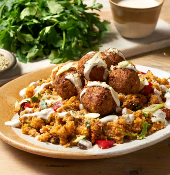 Moroccan Falafels with Harissa Couscous