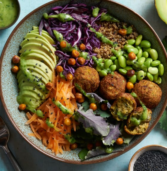 Vegan Falafel Buddha Bowl with Creamy Avocado Dressing
