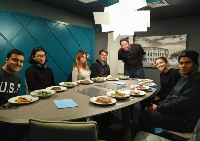Chris Hale and IconInc residents in the private dining room