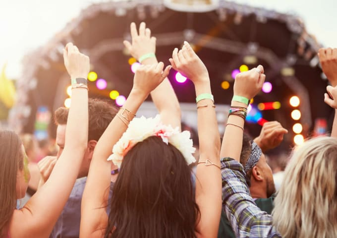 Students at an outdoor music festival