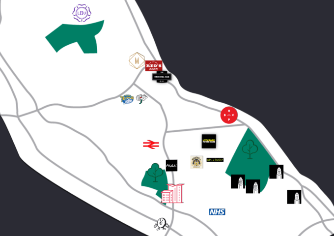 A map of the area and amenities surrounding IconInc, The Glassworks in Burley, Leeds