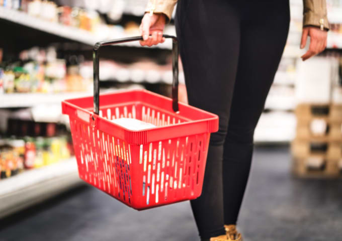 A student shopping in an international supermarket in Leeds