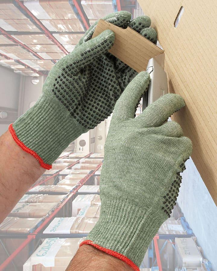 33-5620 medium duty cut resistant pvc dotted glove situ shot