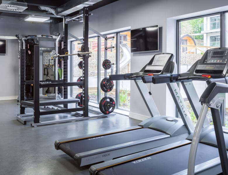 The on-site gym at IconInc The Glassworks