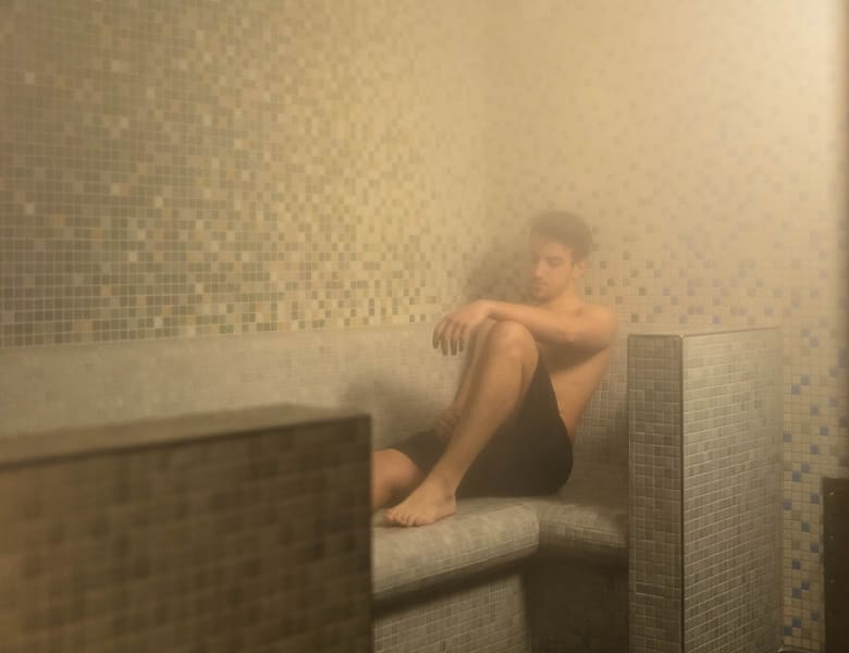 A student using the IconInc steam room