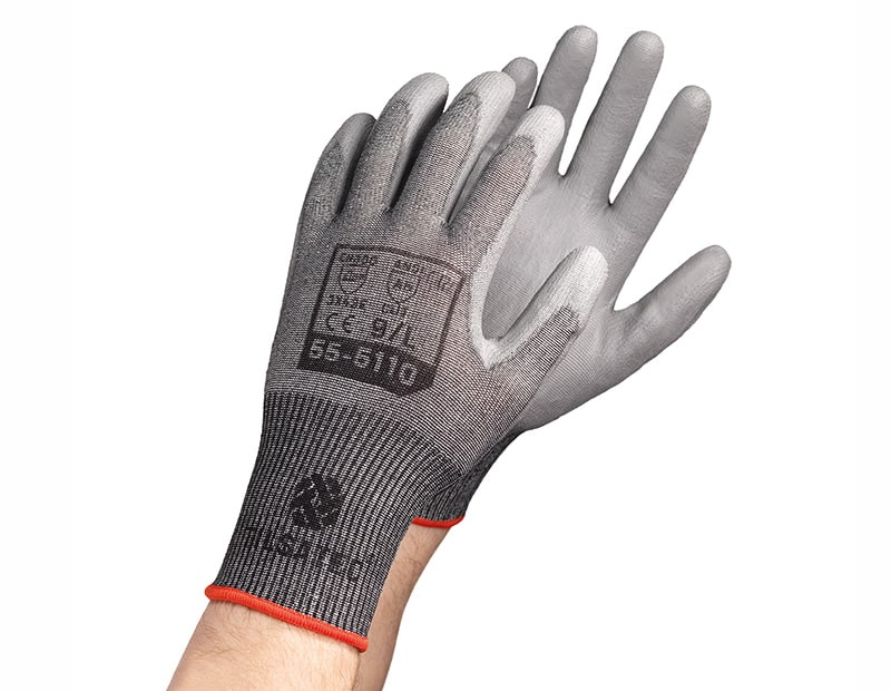 55-5110 Lightweight cut level E PU palm coated glove