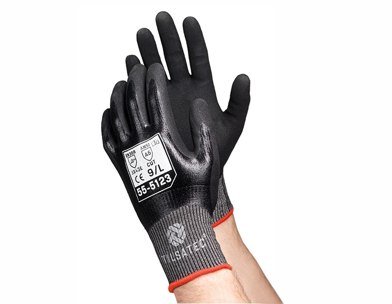 55-5123 Lightweight cut level E fully coated nitrile glove with micropore foam nitrile palm
